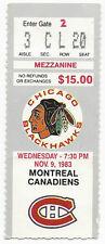 1983 ticket stub Montreal Canadiens v Chicago Blackhawks Chicago Stadium