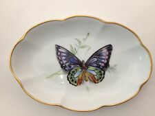 Monarch  Butterfly Nut / Candy Dish / Tray With Gold Trim_LEC Limoges France