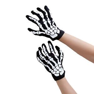 Skelett Handschuhe Schwarz Einheitsgröße Mann & Frau Fasching Karneval Helloween