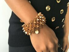 PHILIPPE AUDIBERT Designer Elastic Spiked Gold Metal Plated Bracelet