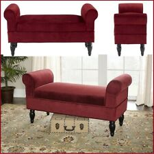 Rolled Arm Bench Upholstered Vintage Mahogany Legs Entryway Living Room Maroon