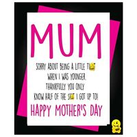 Funny Mother's Day Birthday Card Humour Mum Mummy Sorry For Being a Twat M19
