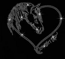 Crystal Horse Cowgirl Up Rhinestone Iron on T Shirt Design   MVT6