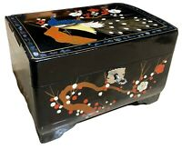 Vintage Black Laquered Hand Painted Japanese Music Jewelry Box Lock Key Japan