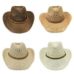 Cowboy Western Shapeable Straw Hat Wide Brim Panama Cowgirl Summer Beach Sun Cap