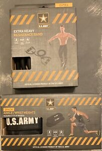 US ARMY Wrist Ankle Weights 2x2 LB Weights and Extra Heavy Resistance Band