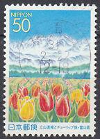 Japan Briefmarke gestempelt 50y Blume Tulpe Berg Gebirge Landschaft Natur / 1392