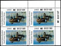 ND14 MNH,1995 North Dakota State Duck Stamp Plate Block