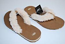 NEW UGG Australia Schutter Chestnut Sheepskin Beach Kid Flip Flop Shoes SIZE 3