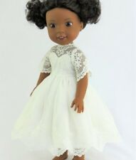"""Doll Clothes 14 1/2"""" AG Wellie Wishers Dress White Lace Shoes Fit 14.5"""" AG Dolls"""