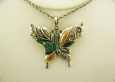 Joan Rivers Tri Tone Butterfly Pendant Necklace (w/box/pouch/romance card)