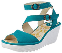Fly London Yisk Verdigris Leather Ankle Strap Wedge Sandals EU 36 37 39 38 40