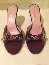 Authentic Christian Dior Purple Embroidery Fabric Slides Sz 37 1/2 US 7 1/2