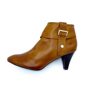 Valerie Stevens Womens Ankle Boots Booties Tan Faux Leather Zip Buckle 8.5 M New