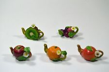 Tiny miniature fruit/vegetable teapot~HAND PAINTED~FAIRY GARDEN