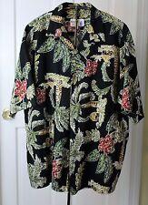 Vintage  IOLANI Men's Trees & floral Hawaiian shirt XL Made in Hawaii