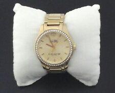 COACH Watch Maddy Gold Tone Stainless Logo Crystal Bezel W6184 Bracelet $275