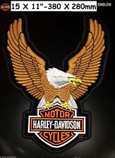 """HARLEY DAVIDSON EAGLE WINGS XXL Brown Patch 11"""" X 15"""" BIGGEST EVER MADE AND RARE"""