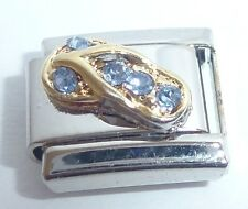 GOLD SANDAL BLUE GEMS Italian Charm 9mm fits Classic Bracelets FLIP FLOP N20