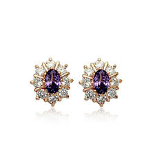 18K ROSE GOLD PLATED GENUINE PURPLE CZ & AUSTRIAN CRYSTAL STUD OVAL EARRINGS