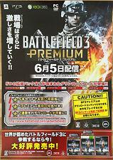Battlefield 3 premium rare xbox 360 ps3 51,5 cm x 73 japonais promo poster