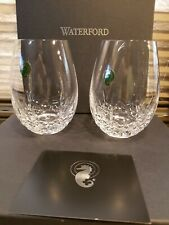 "2 Waterford ""Lismore"" Nouveau DEEP Red Stemless Wine Glasses NEW with Box"