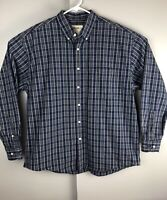 Eddie Bauer Flannel Long Sleeve Shirt Blue Green White Plaid Size XL - Vintage