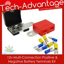 12V MULTI-CONNECT BUSBAR POSITIVE &NEGATIVE BATTERY TERMINALS KIT - CAR/BOAT/RV