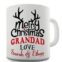 Twisted Envy Personalised Merry Christmas Grandad Ceramic Funny Mug