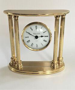 Modern 'Churchill' Brass Quartz Mantel Clock