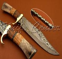 BEAUTIFUL CUSTOM HAND MADE DAMASCUS STEEL HUNTING BOWIE KNIFE WITH BONE & WOOD