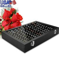 100 Slot Jewelry Ring Tray Rings Holder Showcase Display Storage Box With Lid