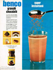 PUBLICITE ADVERTISING 055  1968  BENCO    boisson granulé chocolaté