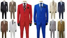 Men's Formal Slim Fit Suit 2 Piece Two Button Solid Colors (10) Jacket & Pants