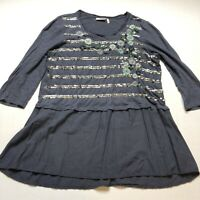 LOGO Lavish Blue Sequin Floral Embroidered Top Size Small A1381