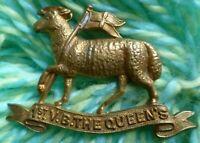1st Volunteers Battalion The Queen's Regiment Cap Badge BRASS 2 Lugs