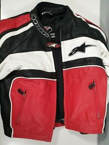 Alpinestars Leather Motorbike Biker Jacket Red White Mens XS UK 34 EU 44 US 8