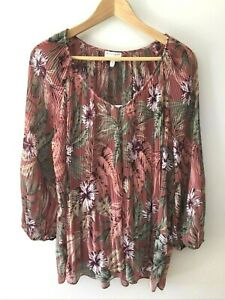 Witchery Women's Pleated Floral Top with Cami Size 14 Mauve Pink Party Work