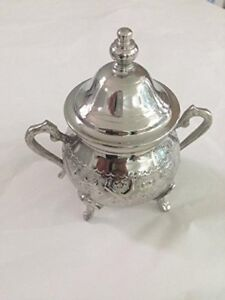 New Moroccan Small Sugar Bowl Container Tea Pot Set Handmade Brass Silver Plated
