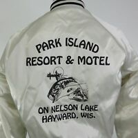 VTG PARK ISLAND RESORT HOTEL HAYWARD WISCONSIN SATIN USA SNAP BUTTON JACKET M