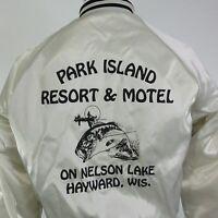 VTG PARK ISLAND RESORT HOTEL HAYWARD WISCONSIN SATIN USA SNAP BUTTON JACKET M