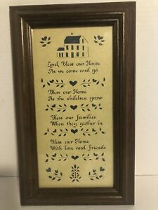 Vintage 1985 Designs with Scissors God Bless our Home Wooden Framed Picture