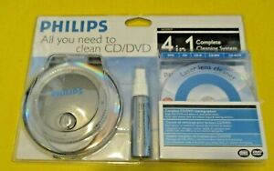 Philips CD & DVD 4 In 1 Complete Laser Lens Cleaning Cleaner Kit System SEALED!