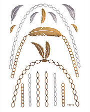 Temporary Gold Flash Tattoos Fake Adhesive Tattoo Throat Chain Feathers YS-12