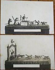 Frog/Wolf Animals in Clay 1910 PAIR Postcards - Triumphator, L'Envoi du Lievre