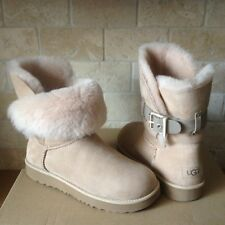 UGG Jaylyn Driftwood Suede Fur Cuff Buckle Ankle Short Boots Size US 8 Womens