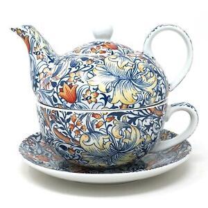 William Morris Golden Lily Floral Fine China Tea For One Cup Mug Teapot Set
