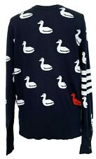 NEW, THOM BROWNE MEN'S NAVY CASHMERE SWEATER WITH DUCK PRINT, 5, $2850