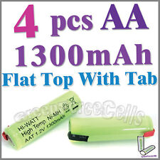 4 pcs AA 1300mAh NiMH 1.2V rechargeable battery Flat Top with Tab Green