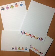 Colourful Owls letter writing paper & envelopes stationery - Fun & cute set